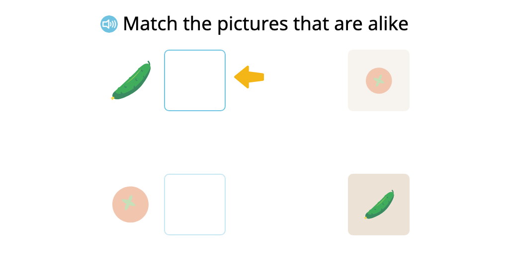 Match pairs of similar items that differ in size and/or color