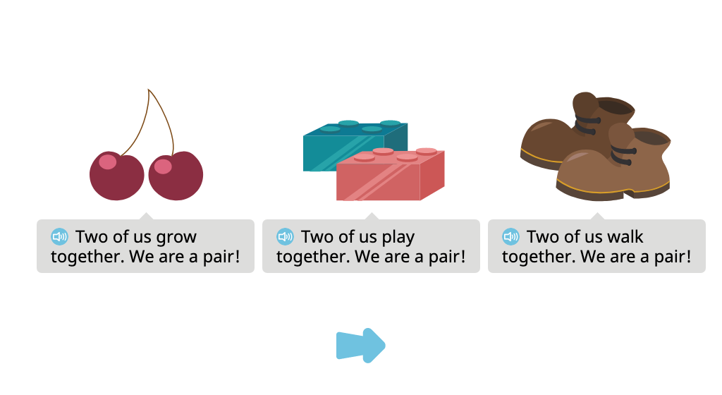 Separate pairs of objects from a group of 4