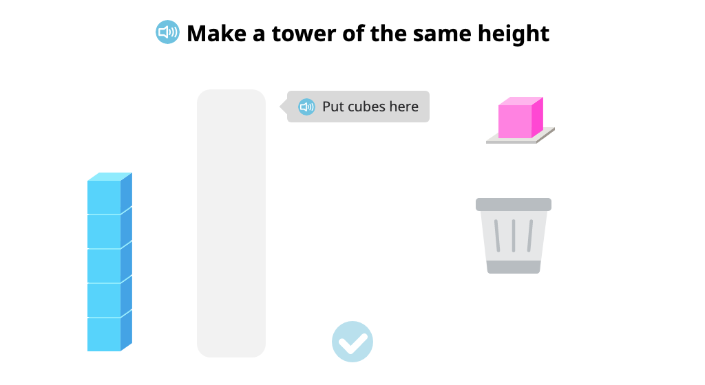 Add cubes or take them away to make a tower the same height as a given tower