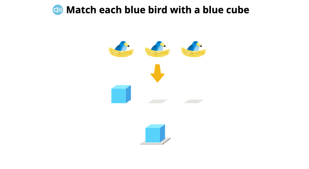 Match cubes 1:1 with objects aligned in a row (Level 1)