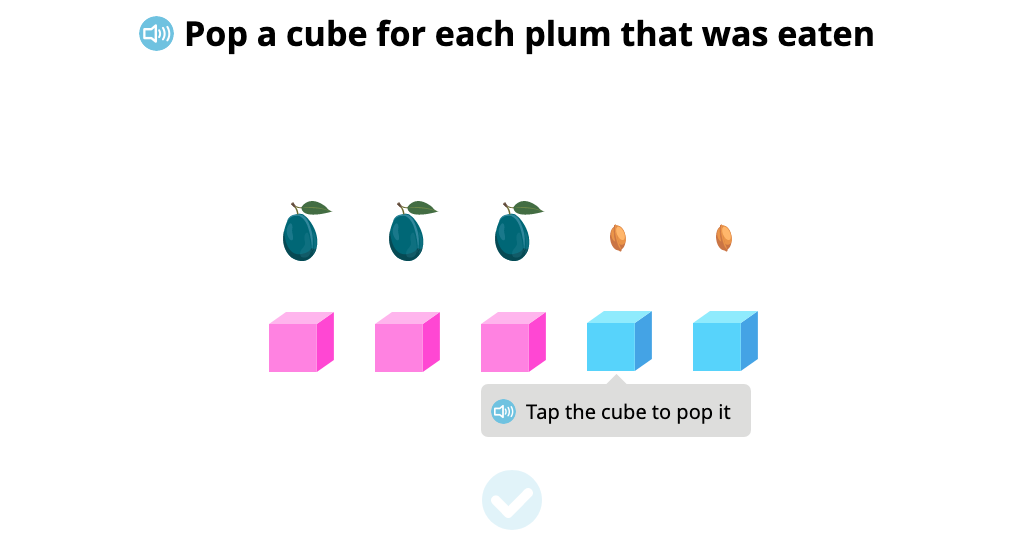 Represent subtraction scenarios using cubes to match objects 1:1