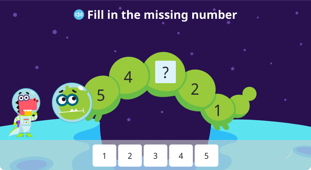 Determine the missing numbers on a number line numbered 5-1