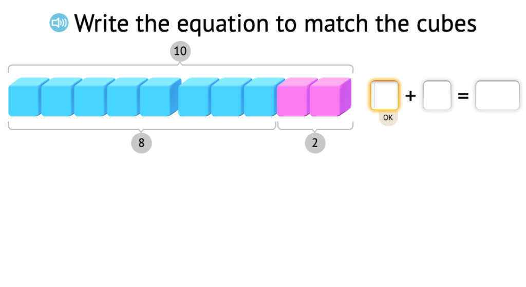 Record a model of base-10 blocks as two related equations that show subtraction from 10