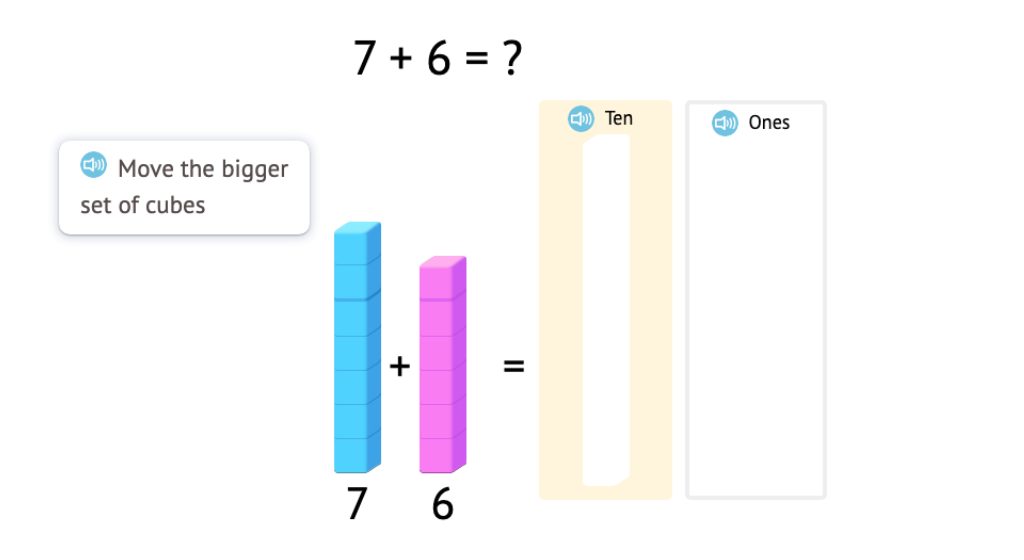 Model and solve +/- equations across 10 using base-10 blocks