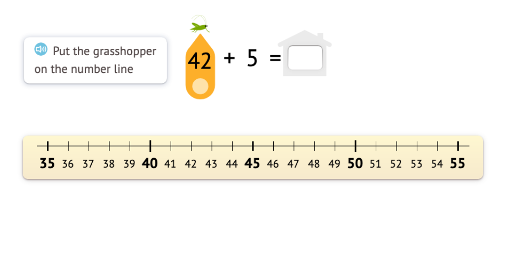 Solve +/- equations that do not cross a ten based on a number line model
