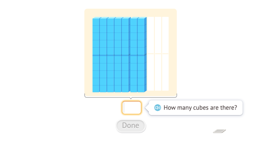 Add across 100 using base-10 blocks