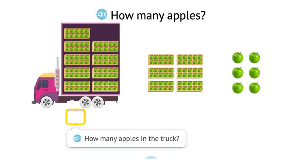 Determine a 3-digit total of objects in ten-frames (aligned)