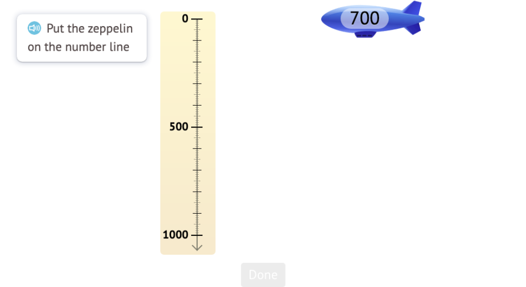 Position 3-digit round numbers, in both digits and words, on a vertical number line