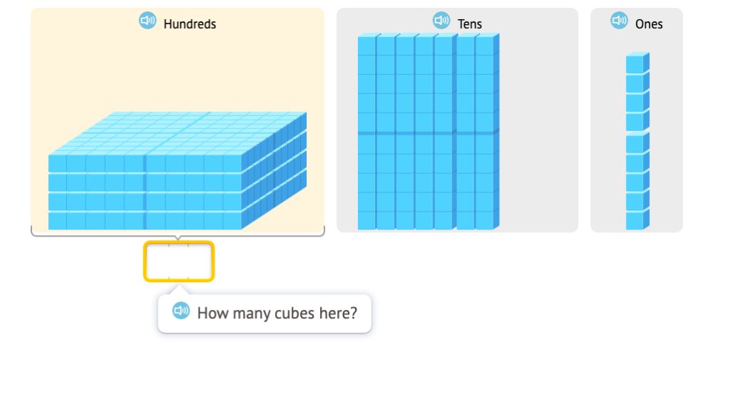 Determine a 3-digit total of base-10 blocks with and without a model of place value cards