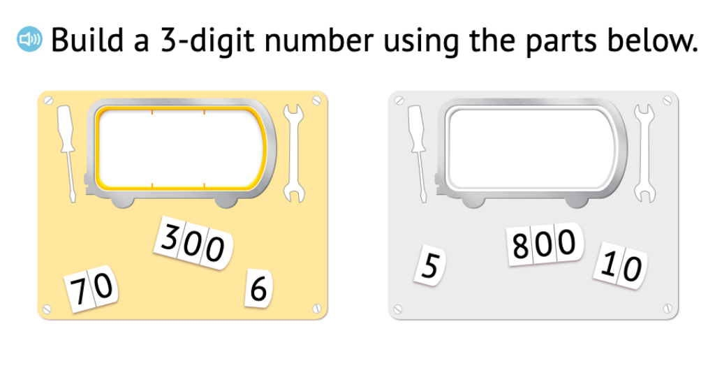 Compose 3-digit numbers based on a set of place value cards showing hundreds, tens, and ones