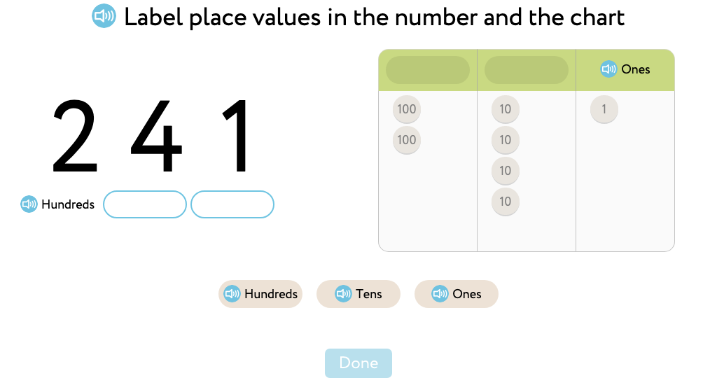 Recognize and represent 3-digit numbers as hundreds, tens, and ones