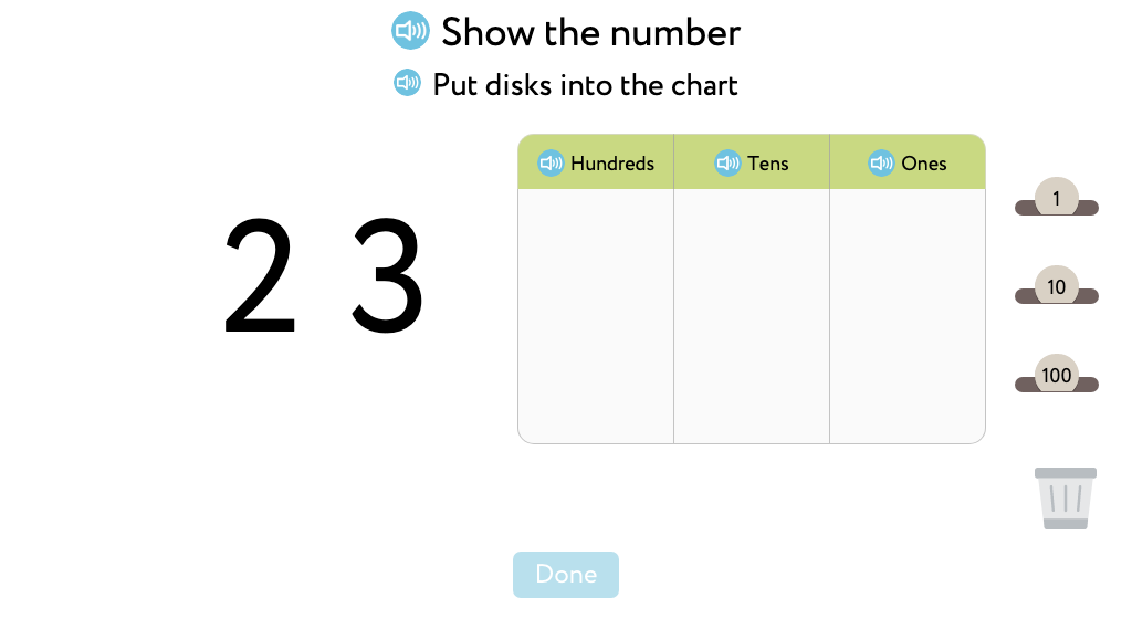 Recognize and represent 3-digit numbers with placeholder zeros as hundreds, tens, and ones
