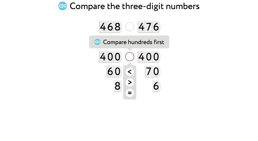 Use >, =, and < to compare at the tens and ones place based on place value cards