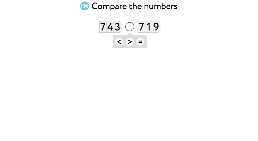 Use >, =, and < to compare at the hundreds and tens place