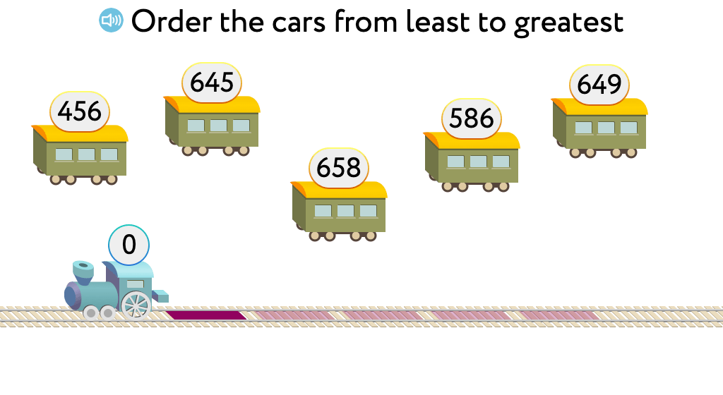 Arrange three-digit numbers in ascending order (Level 2)