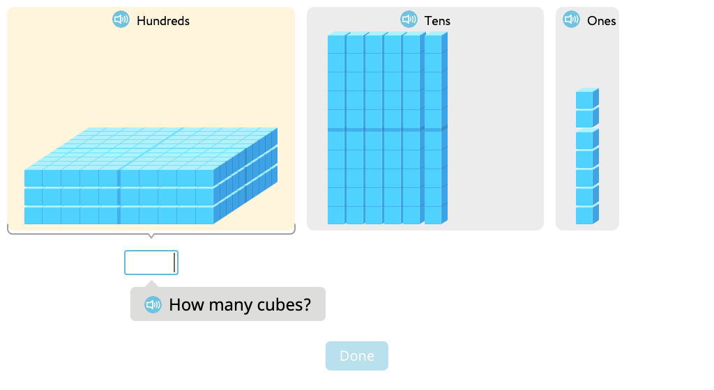 Determine 1, 10, and 100 more or less than a given number based on a model of base-10 cubes