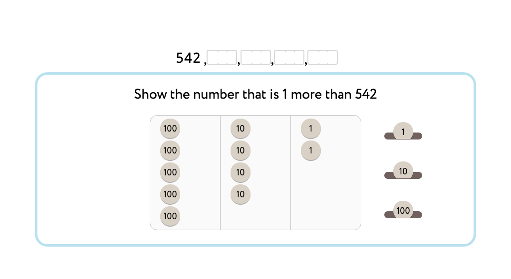 Count up and down by 1 in the hundreds with and without a model of numbered disks