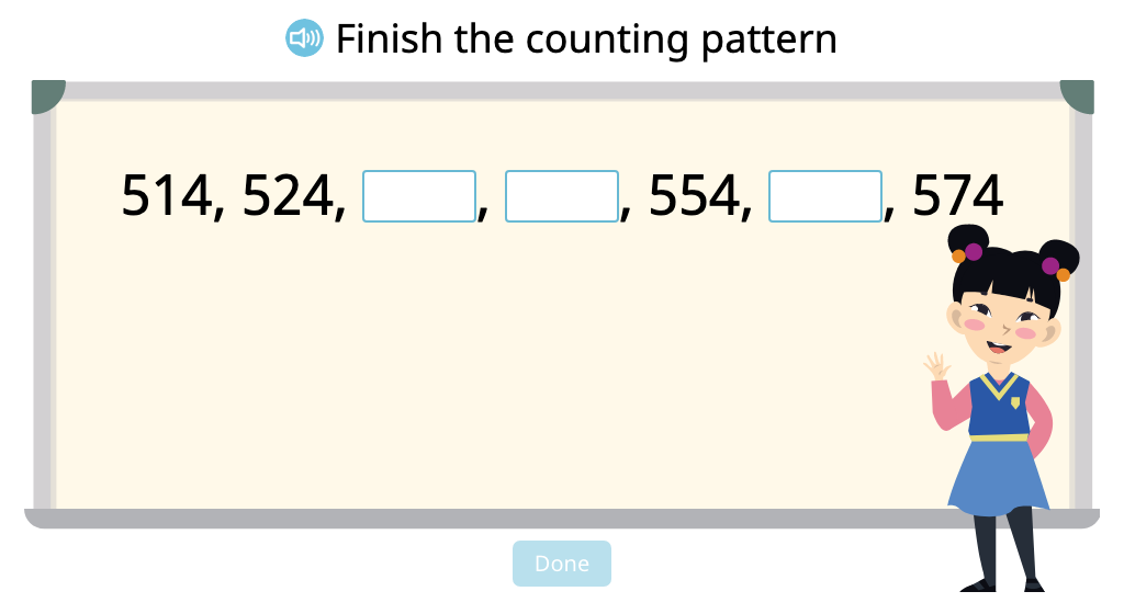 Identify and complete counting patterns up and down by 1, 10, and 100 (Part 2)
