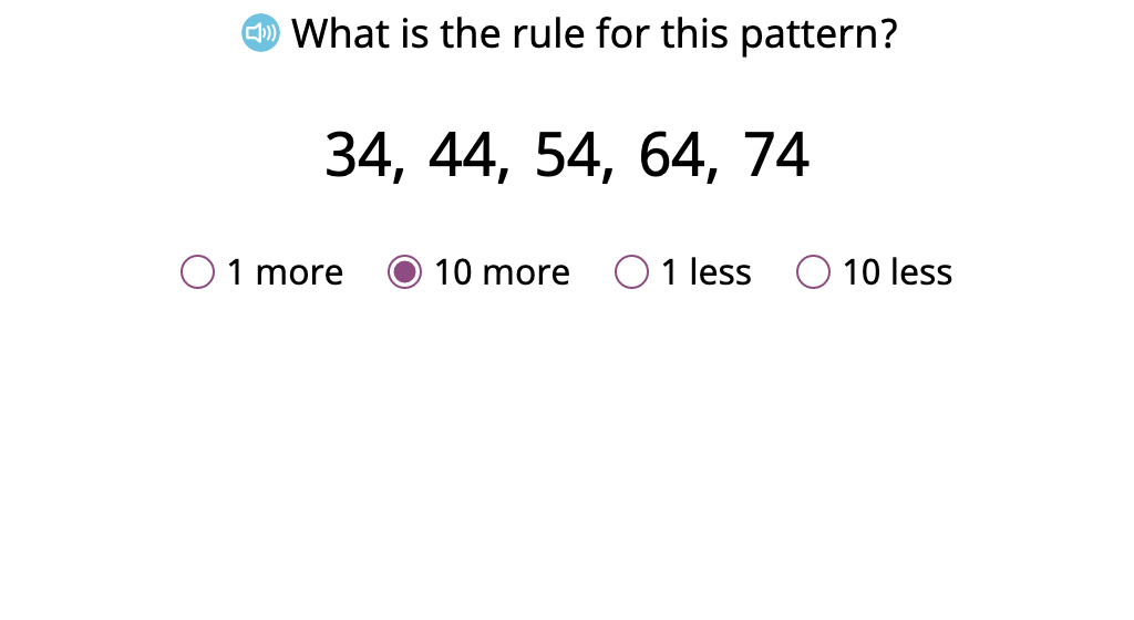 Identify the rule for a +/- 1 or 10 counting pattern and continue the pattern (Part 1)