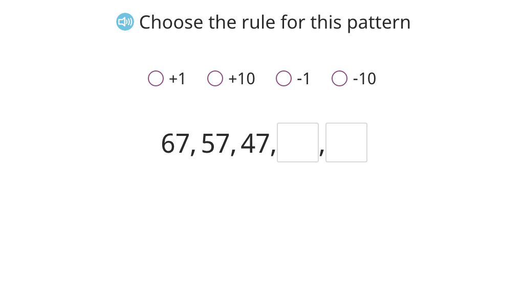 Identify the rule for a +/- 1 or 10 counting pattern and continue the pattern (Part 2)