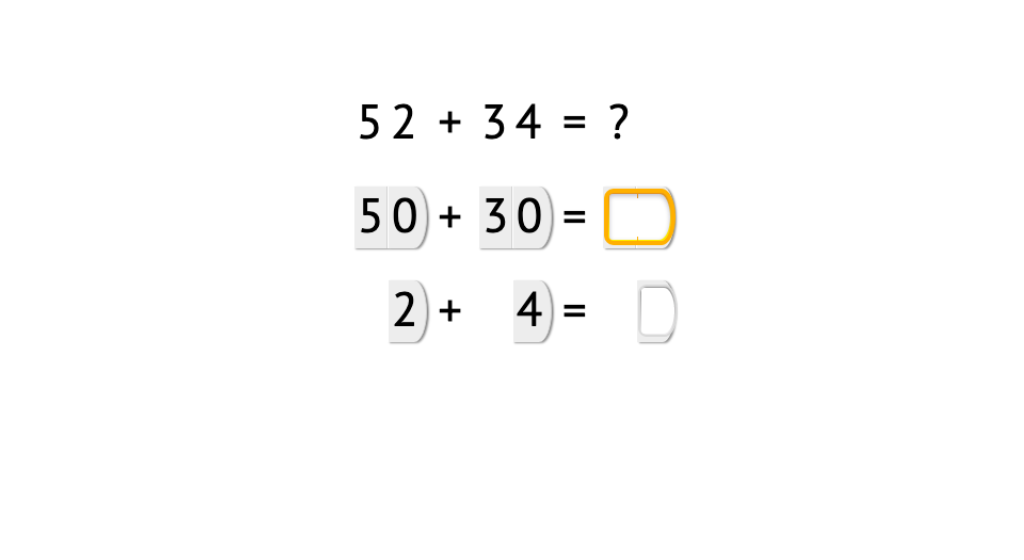 Add 2-digit numbers using place value cards to add tens and ones separately