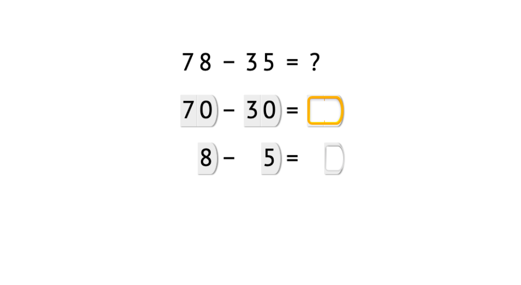 Subtract 2-digit numbers with and without using place value cards to subtract tens and ones separately