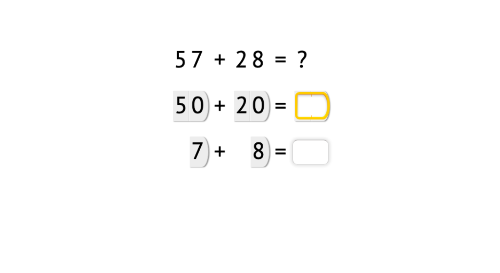 Add 2-digit numbers with and without exchanging using place value cards