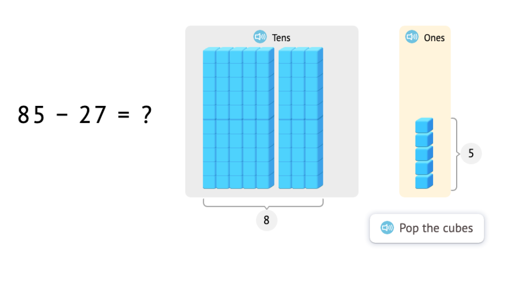 Subtract 2-digit numbers with and without exchanging using a model of base-10 blocks