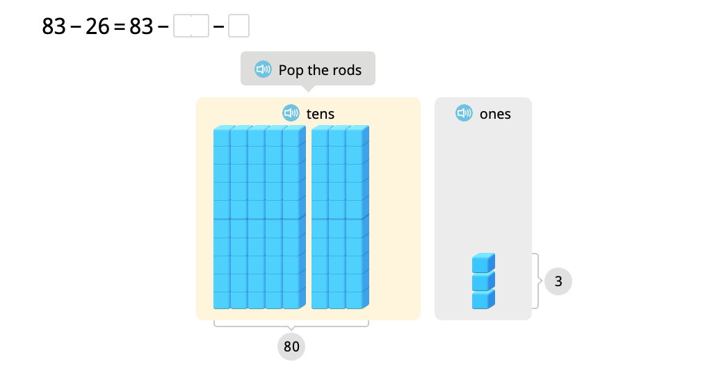Subtract 2-digit numbers with exchanging using a model of base-10 blocks
