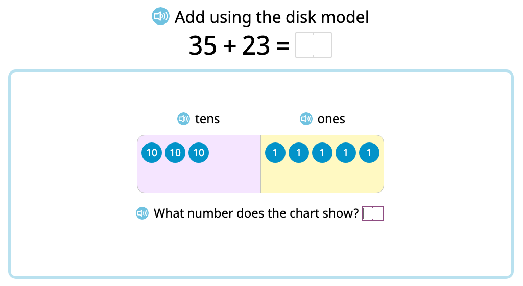 Represent and solve 2-digit addition problems without exchanging using a disk model