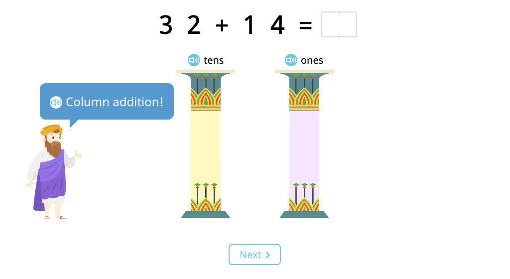 Solve 2-digit column addition without exchanging (Level 1)