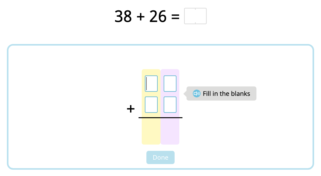 Solve 2-digit column addition with and without exchanging (Level 1)