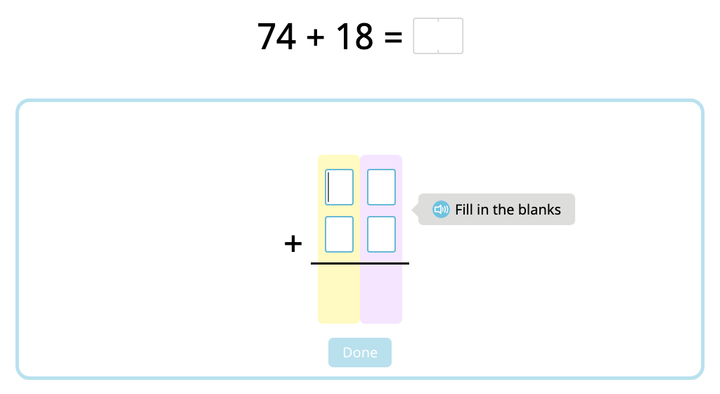 Solve 2-digit column addition with and without exchanging (Level 2)