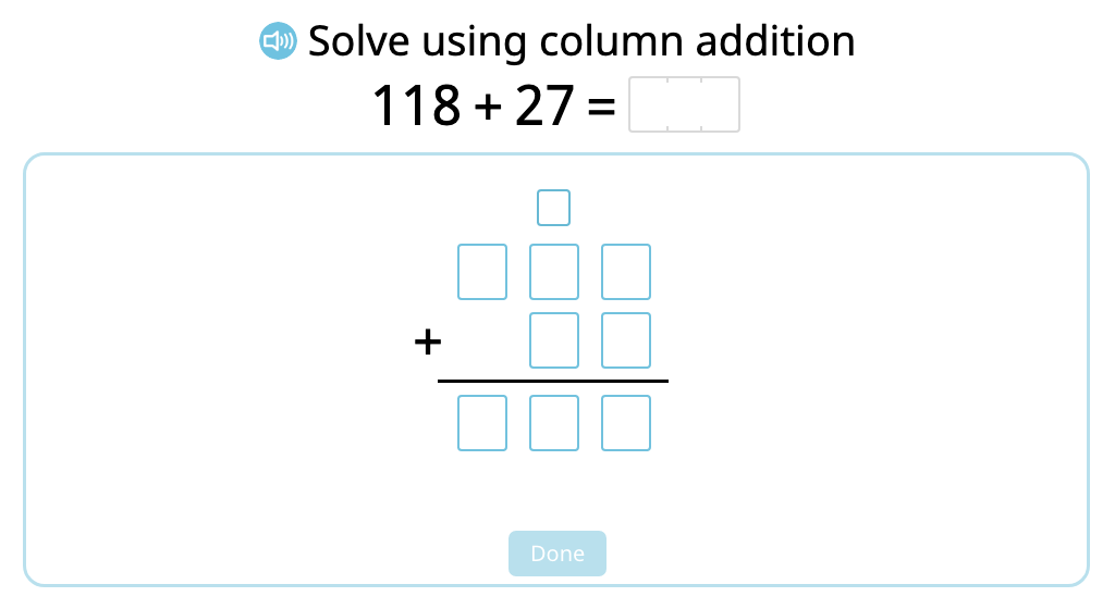 Solve 2- and 3-digit column addition with and without exchanging ones (Level 2)
