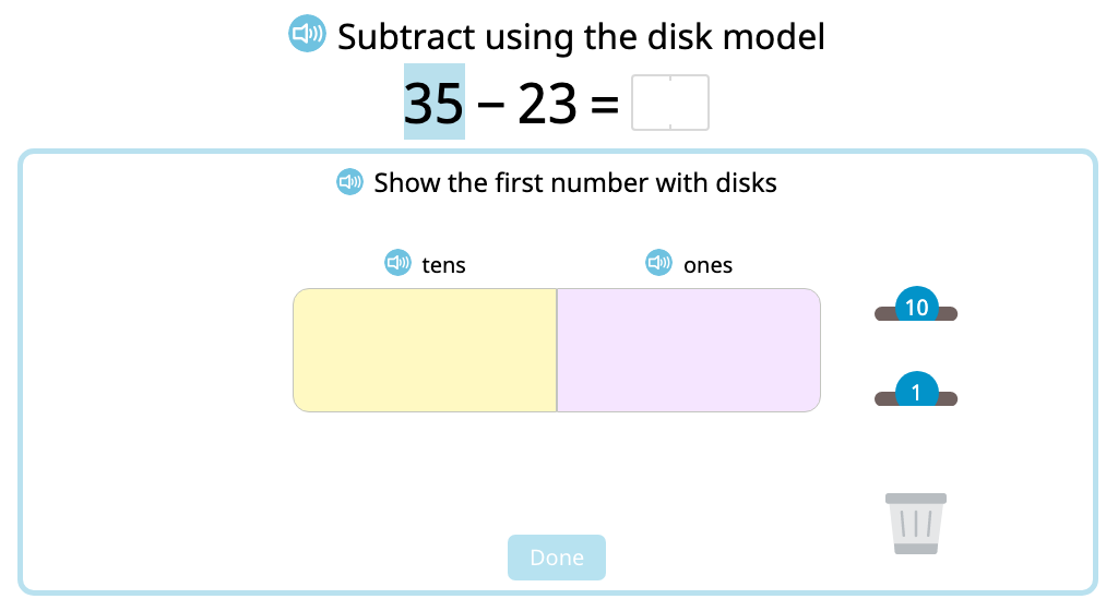 Represent and solve 2-digit subtraction problems without exchanging using a disk model