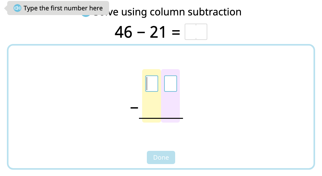 Solve 2-digit column subtraction without exchanging