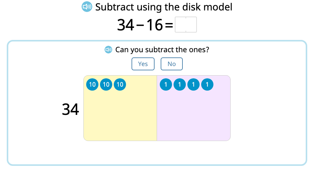 Subtract 2-digit numbers with exchanging using a disk model