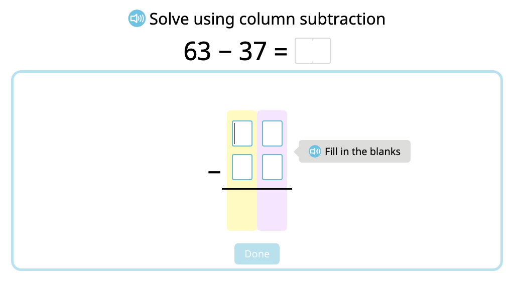 Solve 2-digit column subtraction with exchanging using a disk model