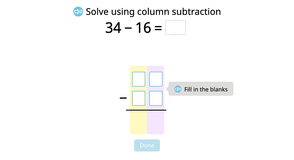 Solve 2-digit column subtraction with exchanging (Level 1)