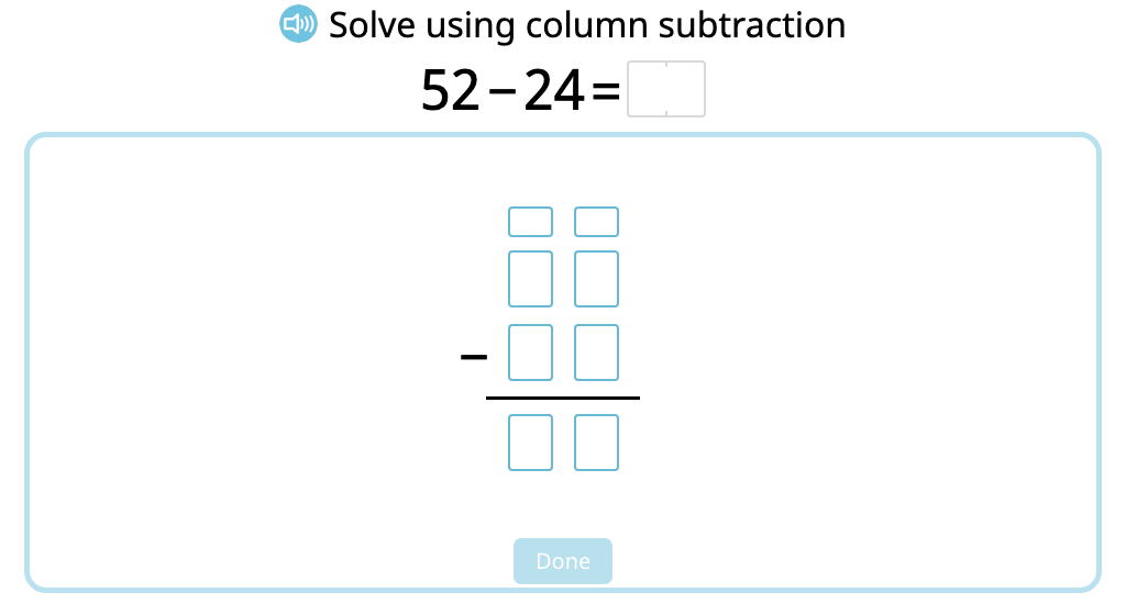 Solve 2-digit column subtraction with and without exchanging