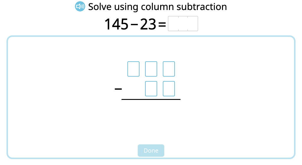 Solve 2- and 3-digit column subtraction with and without exchanging ones (Level 1)