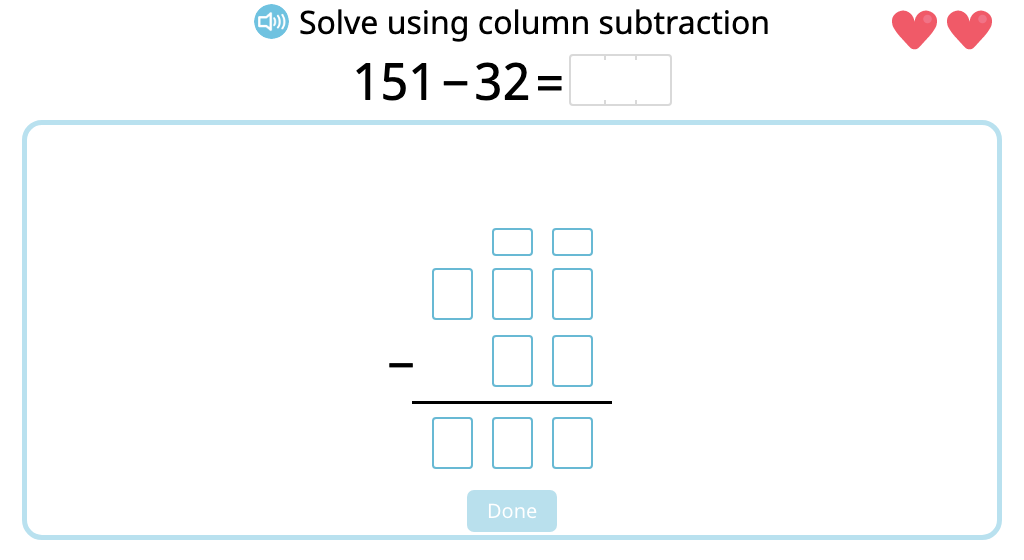 Solve 2- and 3-digit column subtraction with and without exchanging ones (Level 2)