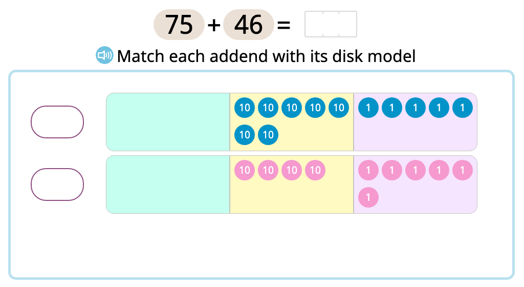 Solve 2-digit column addition with exchanging into the hundreds using a disk model