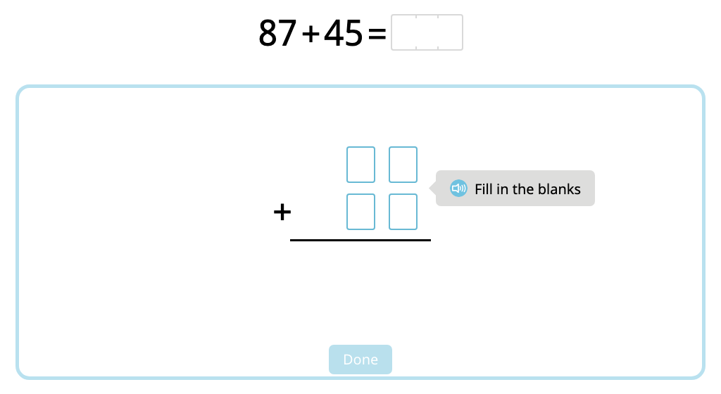 Solve 2-digit column addition with multiple exchanges
