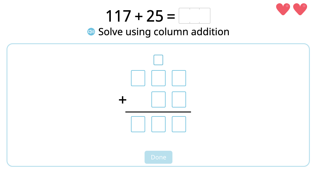 Solve 2- and 3-digit column addition with multiple exchanges