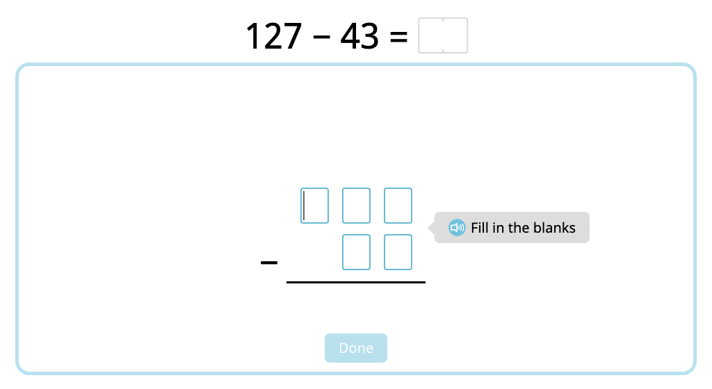 Solve 2- and 3-digit column subtraction with exchanging into the hundreds (Part 1)