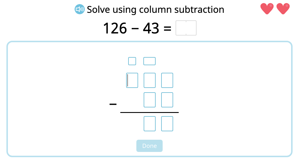 Solve 2- and 3-digit column subtraction with and without exchanging into the hundreds