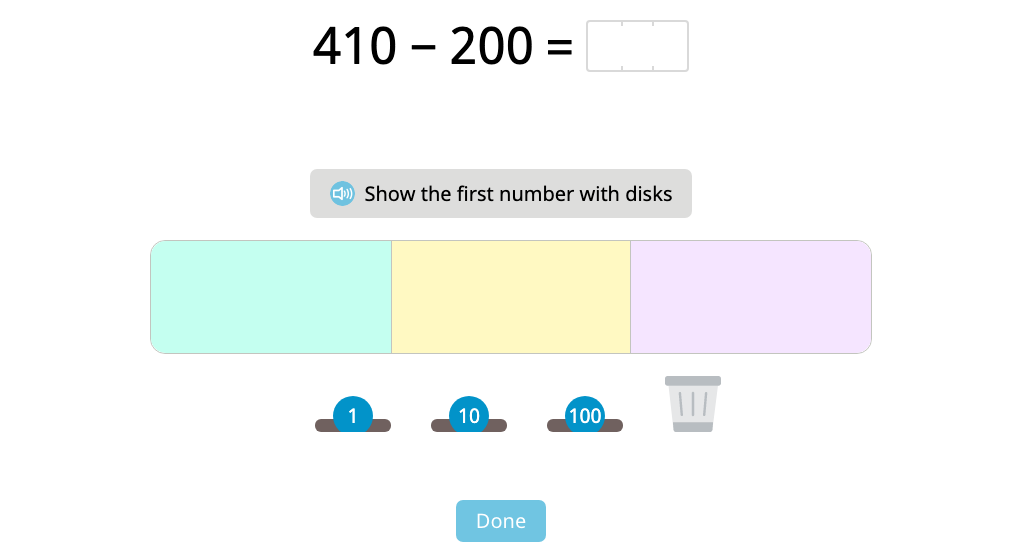 Subtract 3-digit round numbers with and without using a disk model