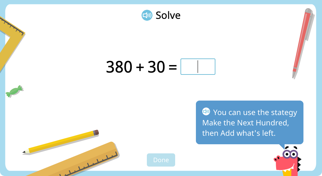 Add a 2-digit round number to a 3-digit round number using mental math