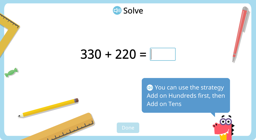 Add 3-digit numbers using mental math